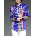 Colorful Stripe Patched Slim  Fit Satin Shirt deal