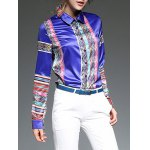 cheap Colorful Stripe Patched Slim  Fit Satin Shirt