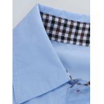Plaid Edging Spliced Long Sleeve Shirt deal
