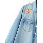 Distressed Floral Embroidery Denim Shirt deal