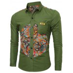 Colorful Floral Spliced Long Sleeve Pocket Shirt