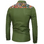 cheap Colorful Floral Spliced Long Sleeve Pocket Shirt