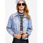 cheap Light Wash Flower Embroidery Denim Jacket