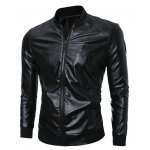 Zip Up Stand Collar PU Leather Jacket