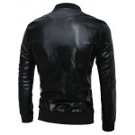 cheap Zip Up Stand Collar PU Leather Jacket