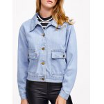 Pocket Design Bleach Washed Denim Jacket