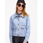cheap Pocket Design Bleach Washed Denim Jacket
