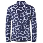 3D Square Print Stand Collar Quilted Jacket deal