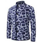 cheap 3D Square Print Stand Collar Quilted Jacket