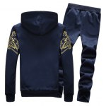 cheap Zip Up Flocking Hoodie and Drawstring Pants Twinset