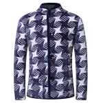 3D Dart Print Stand Collar Quilted Jacket