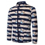 cheap 3D Stripe Print Stand Collar Quilted Jacket