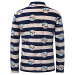 3D Stripe Print Stand Collar Quilted Jacket deal