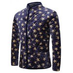 cheap 3D Stars Print Stand Collar Quilted Jacket