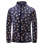 3D Stars Print Stand Collar Quilted Jacket