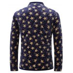 3D Stars Print Stand Collar Quilted Jacket deal