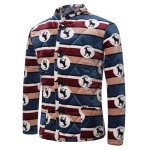 cheap 3D Stripe and Goat Print Stand Collar Quilted Jacket