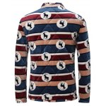 3D Stripe and Goat Print Stand Collar Quilted Jacket deal