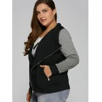 Plus Size Zip Pocket Hooded Jacket for sale