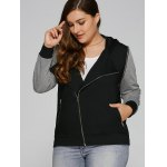 cheap Plus Size Zip Pocket Hooded Jacket