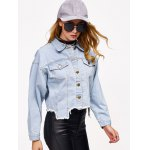 Denim Asymmetrical Hem Jacket for sale