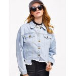 cheap Denim Asymmetrical Hem Jacket