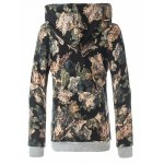 cheap Retro Floral Pullover Hoodie