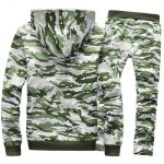 cheap Camo Flocking Hoodie and Drawstring Pants Twinset