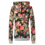cheap Retro Rose Floral Pullover Hoodie