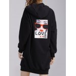 cheap Zipped Portrait Applique Thicken Maternity Hoodie