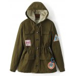 Patched Hooded Parka Coat