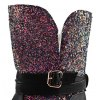 best Flat Sequined Mid Calf Boots