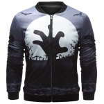 Stand Collar 3D Halloween Cemetery Print Jacket