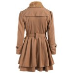 cheap Double Breasted Furry Collar A Line Wool Coat