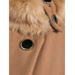 Double Breasted Furry Collar A Line Wool Coat for sale