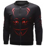 cheap Stand Collar 3D Halloween Graphic Printed Jacket