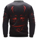 Stand Collar 3D Halloween Graphic Printed Jacket deal