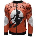 cheap Witch Printed Zip Up Halloween Jacket