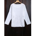 cheap Long Sleeve Flower Embroidered Blouse