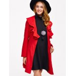 cheap One Button Flounce Slimming Coat