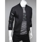 cheap PU Leather Spliced Stand Collar Zip Up Jacket