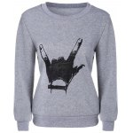 Fitted Rock Hand Gesture Sweatshirt