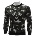 cheap Crew Neck Camouflage Sweater