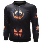 cheap Wicked Pumpkin Printed Zip Up Halloween Jacket