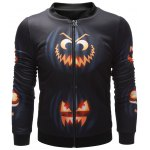 Wicked Pumpkin Printed Zip Up Halloween Jacket