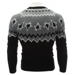 Crew Neck Color Block Waviness Graphic Sweater deal