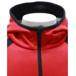Color Block Splicing Hooded Zip Up Drop Shoulder Hoodie for sale