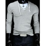 Buy Trendy Slimming V-Neck Drawstring Faux Twinset Long Sleeve Polyester T-Shirt Men M