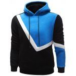 cheap Contrast Paneled Side Pocket Pullover Hoodie