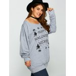 Pullover Letter Witch Print Sweatshirt deal